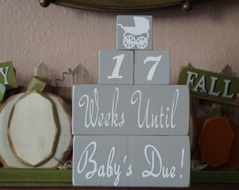 New Baby Countdown Blocks. Soon-to-be Mother Gift. Days Til Baby. Newborn Arrival Countdown. Pregnancy Countdown. Expectant Mother Gift.