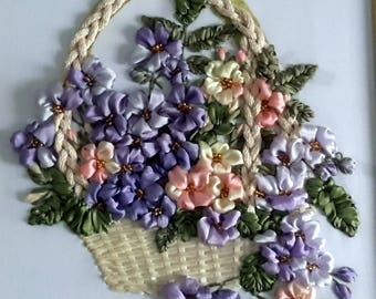 Picture ribbonBouquet forget-me-nots in the basket 3d Picture Silk Ribbon Embroidery Art Pot of Flowers Wall Home Decor Art Floral Fiber Art