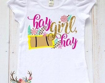 Girls Country Shirt - Hay Girl Hay Shirt - Farm Girl Shirt - Girls Funny Shirt - Toddler Girl Hay Shirt - Toddler/Baby Girl Funny Farm Shirt