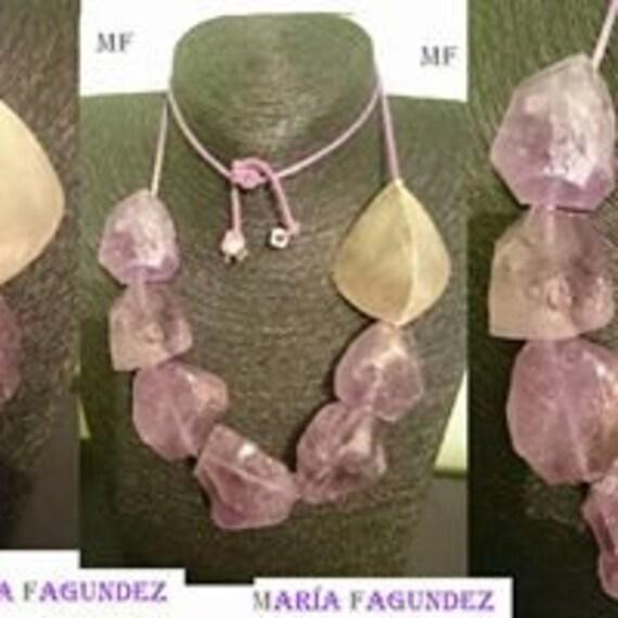 Asymmetrical amethyst/silver necklace