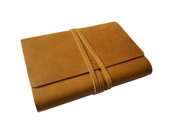 A6 Notebook Personalised Leather Journal Refillable Leather Notebook  Wrap Style Notebook Cover - Light Brown