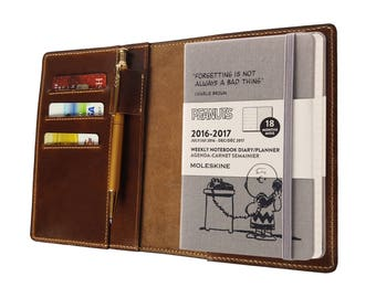 Leather Journal Cover A6 Notebook Cover  with Pen Loop Hobonichi Moleskine cover 3 Card Holders - Brown