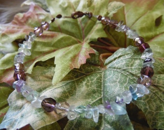 Handmade Beaded Bracelet Purple 8 Inches