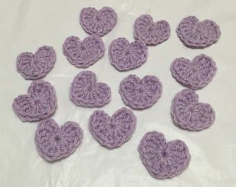 Crochet Mini Heart Appliqués, Small Crocheted Hearts, Heart Appliqués, Mini Hearts, Lavender Hearts