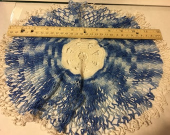 Vintage Hand Crocheted Blue Doilie