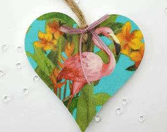 Flamingo. Decoupage heart. Mdf handmade heart. Hanging heart. Birthday gift. Home decor. Summer time. Party time. Flamingo paper.