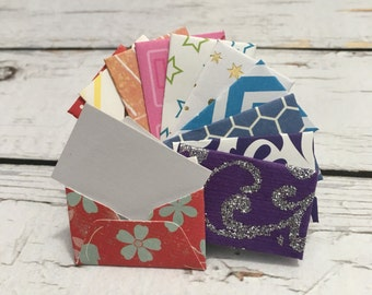 """Teeny tiny itty bitty mini colorful assorted patterned (chevron, polka dots, stripes, floral, variety) envelopes with tiny note cards 1x1.5"""""""