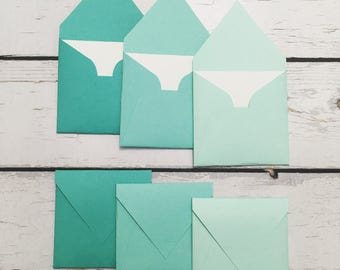 Little square envelopes with cards 3x3""