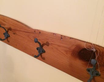 Coat Rack reclaimed cribbed wood