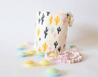 Cactus fabric basket , reversible  basket , storage , stylish basket , bathroom basket , storage container , for the home , cactus ,