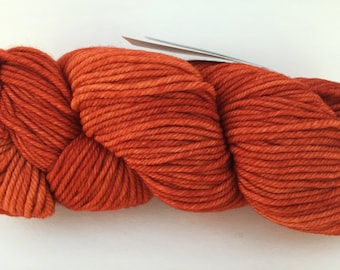 Malabrigo Rios Glazed Carrot Yarn, Rios Orange Yarn, Rios Worsted Weight Merino Wool Yarn Superwash Wool, Kettle Dyed Yarn Glazed Carrot 16