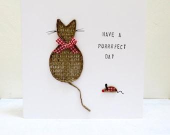 Cat Birthday Card, Handmade Cat Card, Personalised birthday card, cute cat card, best friend card, Dad birthday card, Mum keepsake card.