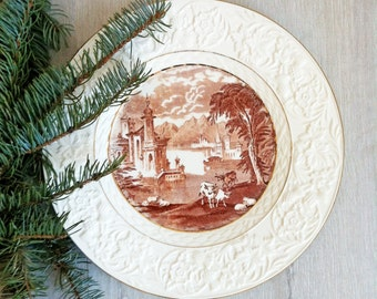 Vintage Maling New Castle-on-Tyne, Embossed Brown Transferware Plate, Wall Decor, England, Toile Transferware, Charger, Serving Platter