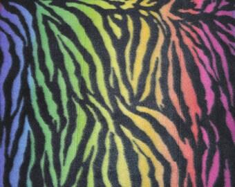 Rainbow Zebra Fleece Fabric - (1&1/4 YARD PIECE)