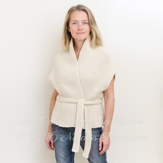 Sleeveless Cardigan Knitting Pattern : Cardigan Knitting Pattern Vest Knitting Pattern Sleeveless