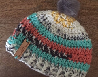 Baby Boho Beanie, newborn, child, adult, made to order any size, faux fur pom