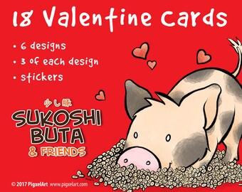 Cute Little Pig Valentine Card and Sticker Set Valentine's Day Sukoshi Buta & Friends Mini Pig Pigxel Art