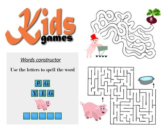 70% OFF SALE Kids Vector Games, Labyrinth Games, Maze Games, Words Constructor, Maze Kids, Labyrinth Kids, Instant Download