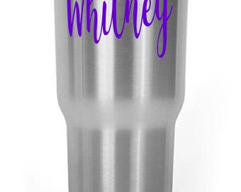 Your Name Text Initials Decal for Your Yeti RTIC Rambler Tumbler Tervis