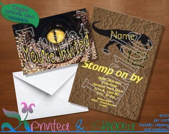 Dinosaur Eye Scale Invitation; Folded Card; Postcard; PDF; E-Card