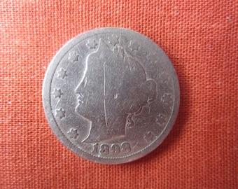 1898 LIberty Head Nickel Coin.