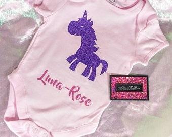 Glitter Baby Onesie - Baby Unicorn (insert desired name)