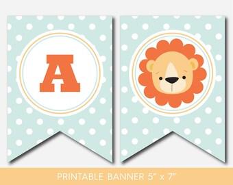 Lion banner, Safari banner, Jungle banner, Lion garland, Safari garland, Jungle garland, Safari pennant, Baby lion banner, BS1-19