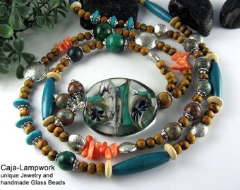 Long necklace with Lampwork, turquoise and coral