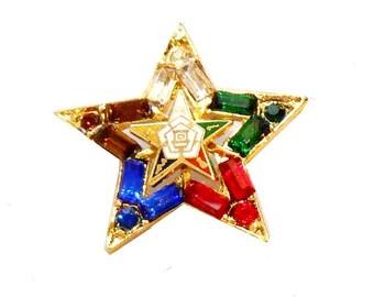 Eastern Star Jeweled Lapel Pin Brooch ES/LP1