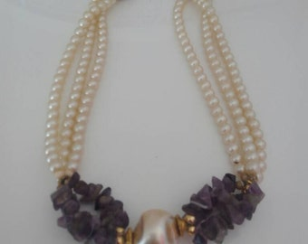 Amethyst Pearl Necklace 80 years