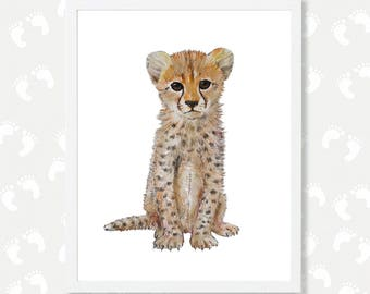 Cheetah Print Cheetah Nursery Art Cheetah Painting Baby Animal Print Safari Nursery Print Digital Download Baby Cheetah Printable Africa