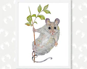 Baby Rat Print Nursery Decor Rat Watercolor Painting Mouse Nursery Printable Art Digital Download Instant Download Animal Portrait Poster