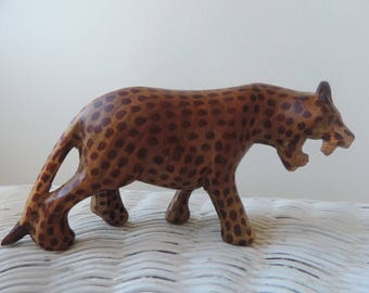 Hand Carved and Painted Leopard Vintage