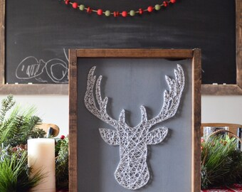 Deer Head With Antlers String Art Wooden Home Decor Perfect For Hunting Decor Animal Themed