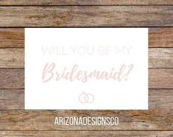 Will You Be My Bridesmaid Card Rose Gold   Bridesmaid Gift, Wedding Invite, Wedding Gift   Instant Download