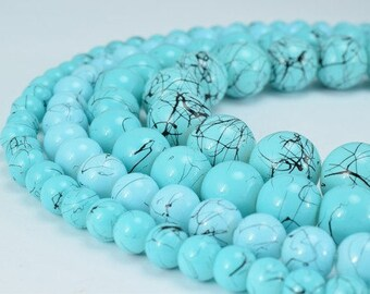 Two Tone Sky Blue Glass Beads Round 6mm/8mm/10mm/12mm Shine Round Beads For Jewelry Making Item#789222045203
