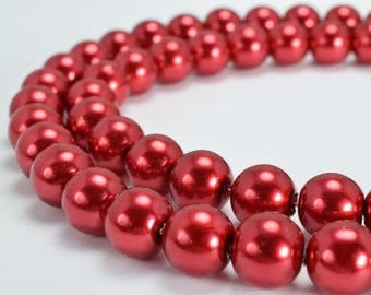 Red Glass Pearl Round Beads Size 10mm Shine Round Ball Beads for Jewelry Making Item#789222045531