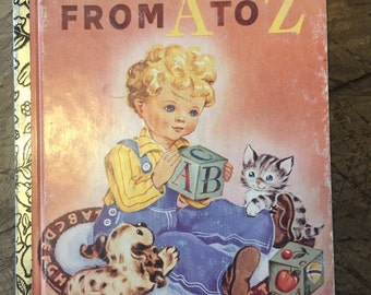 ABC book - little golden book - alphabet book -  vintage educational book - nursery prints - altered arts - kitsch children's book