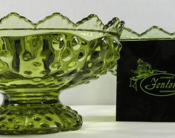 Fenton Hobnail Green Candle Holder Bowl Original Label