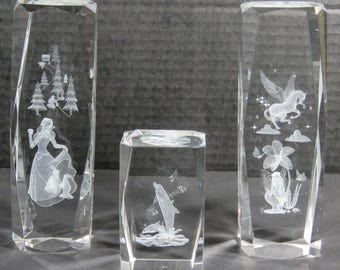 3D Crystal Laser Etched Paperweights Lot of 3 Snow White, Whale, Unicorn & Fairy Disney