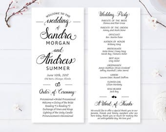 Cheap wedding programs / Modern calligraphy programs for wedding / Elegant wedding ceremony programs