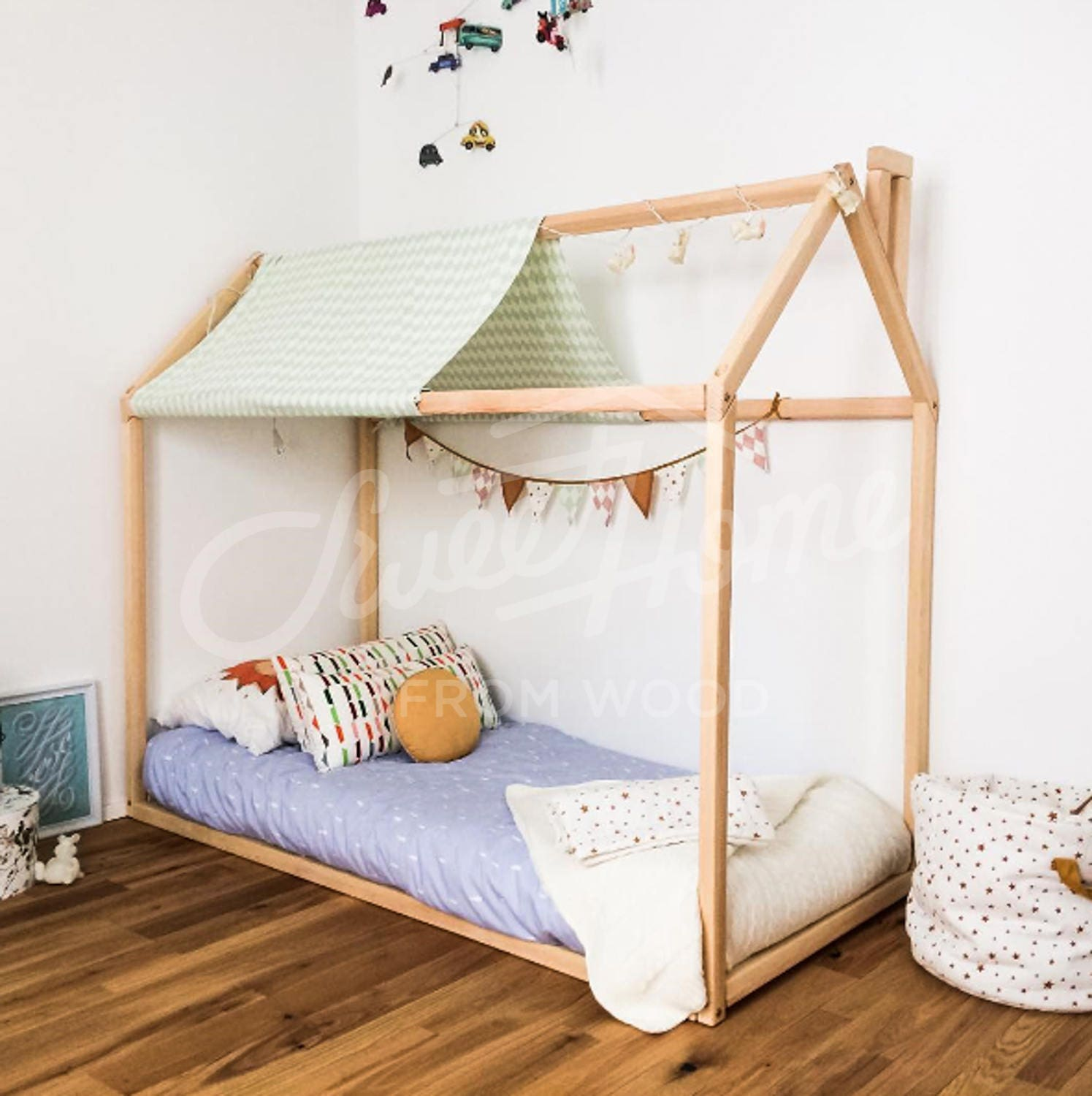 House bed 160x70 80 90cm montessori bed house play house for Chambre montessori