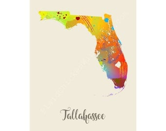 Tallahassee Florida Tallahassee Map Tallahassee Print Tallahassee Poster Tallahassee Art Tallahassee Gift Tallahassee Wall Decor