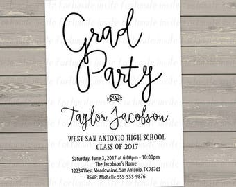 grad party invitations printable, graduation invites printed or digital file