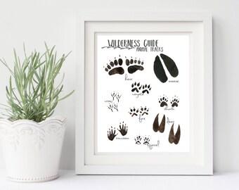 Woodland Nursery Animal Track, woodland nursery print, PRINTABLE nursery art, 8x10 nursery art print, animal tracks print
