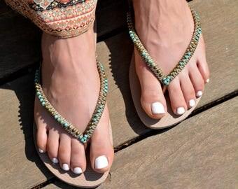 Bronze Turquoise Beaded Flip Flops Decorated Handmade Sandals based on Bronze Rose Gold Havaianas Flat Thongs - 100% Handmade.