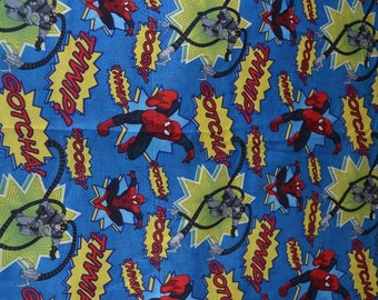 "19"" x 21"" SPIDEY MARVEL  super hero Fabric  Blue background"