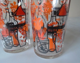 70's glass tumblers  x 2 great graphics