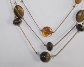 N-49 Vintage Necklace tiger eye stone