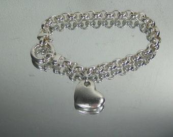 """Sterling Silver Heart Chain Bracelet 7.5"""" 3-1-17"""
